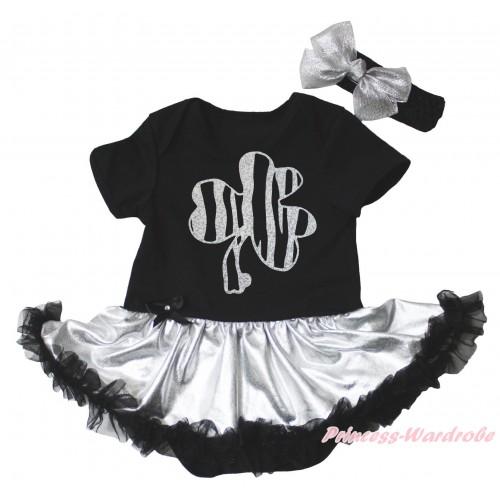 St Patrick's Day Black Baby Bodysuit Silver Black Pettiskirt & Sparkle Grey Clover Painting JS5275