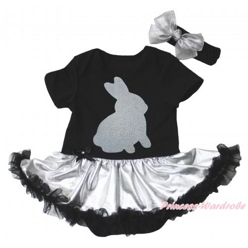 Easter Black Baby Bodysuit Silver Black Pettiskirt & Sparkle Grey Rabbit Painting JS5276