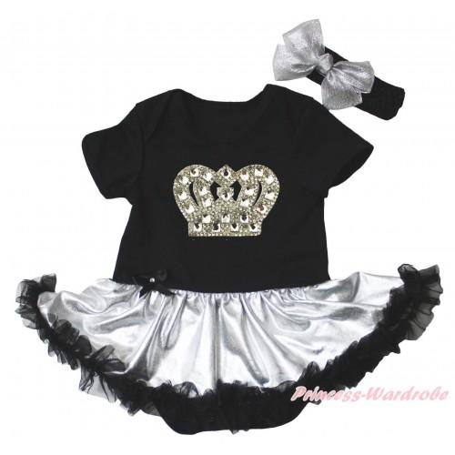 Black Baby Bodysuit Silver Black Pettiskirt & Silver Sparkle Crystal Bling Rhinestone Crown Print JS5277