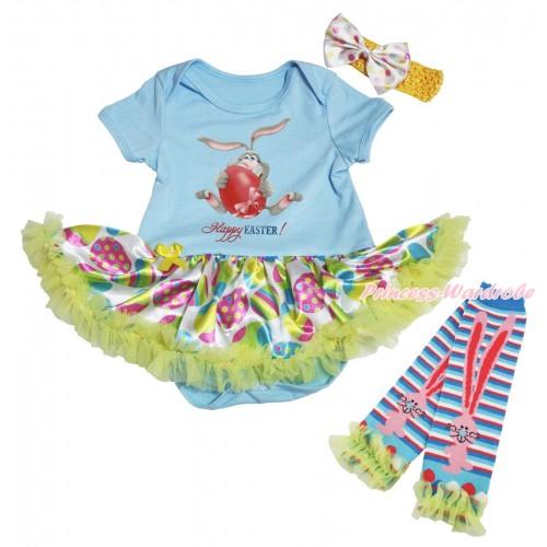 Easter Light Blue Baby Bodysuit Easter Egg Yellow Pettiskirt & Grey Rabbit Painting & Warmers Leggings JS5313