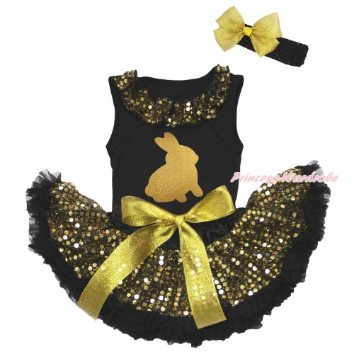 Easter Black Baby Pettitop Gold Sequins Lacing & Sparkle Gold Rabbit Painting & Gold Bling Sequins Newborn Pettiskirt NG1931