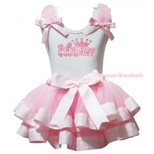 White Baby Pettitop Light Pink Ruffles Pink White Dots Bows & Princess Print & Light Pink White DotsTrimmed Newborn Pettiskirt NG1943