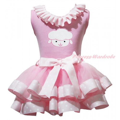 Easter Light Pink Baby Pettitop Pink White Dots Lacing & Sheep Print & Light Pink White Dots Trimmed Baby Pettiskirt NG1958