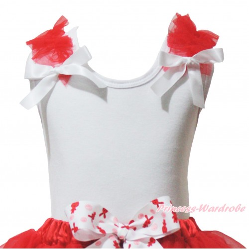 Red Ruffles White Bow White Tank Top T352