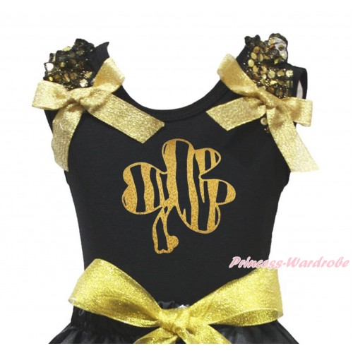 St Patrick's Day Black Tank Top Gold Sequins Ruffles Sparkle Gold Bow & Sparkle Gold Clover Print TB1418