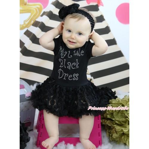Black Baby Bodysuit Rosettes Pettiskirt & Sparkle Rhiinestone My Little Black Dress Print JS5023