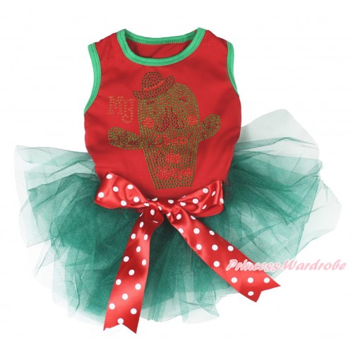Red Sleeveless Teal Green Gauze Skirt & Sparkle Rhinestone My Cinco De Mayo Cactus Print & Minnie Dots Bow Pet Dress DC225