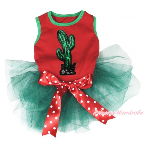Cinco De Mayo Red Sleeveless Teal Green Gauze Skirt & Sparkle Sequins Cactus Print & Minnie Dots Bow Pet Dress DC226