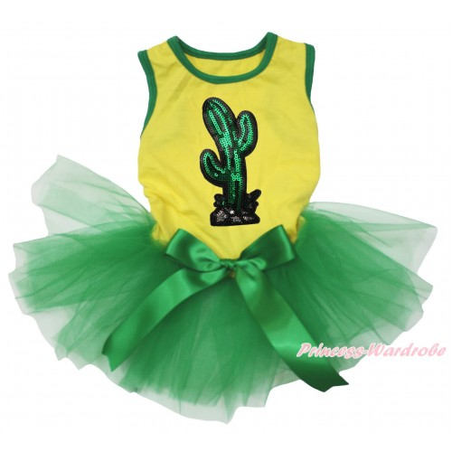Cinco De Mayo Yellow Sleeveless Kelly Green Gauze Skirt & Sparkle Sequins Cactus Print & Kelly Green Bow Pet Dress DC227