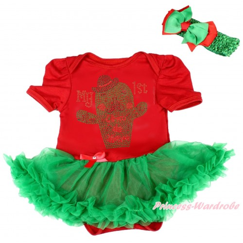 Red Baby Bodysuit Kelly Green Pettiskirt & Sparkle Rhinestone My 1st Cinco De Mayo Cactus Print JS5035