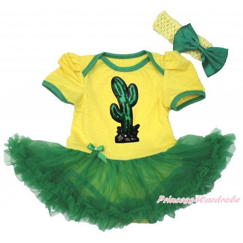 Cinco De Mayo Yellow Baby Bodysuit Kelly Green Pettiskirt & Sparkle Sequins Cactus Print JS5037