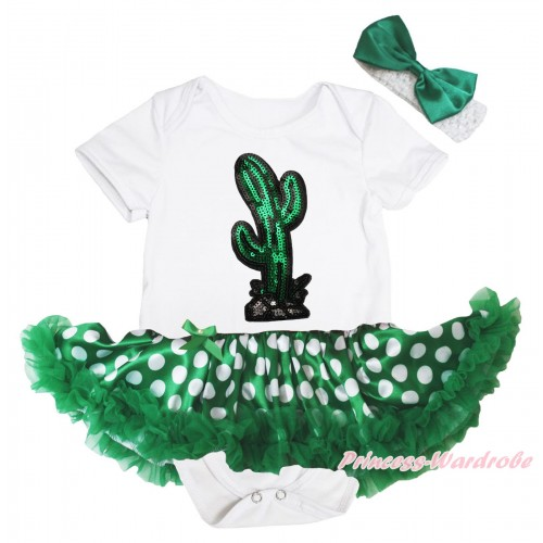 Cinco De Mayo White Baby Bodysuit Green White Dots Pettiskirt & Sparkle Sequins Cactus Print JS5038