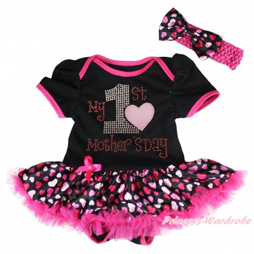 Black Baby Bodysuit Hot Pink Heart Pettiskirt & Sparkle Rhinestone My 1st Mother's Day Print JS5039