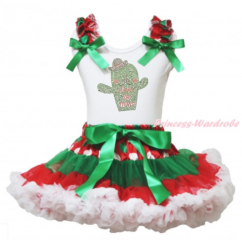 White Tank Top Red White Green Dots Ruffles Kelly Green Bows & Rhinestone Cinco De Mayo Cactus Print & Red White Green Dots Pettiskirt MG2003