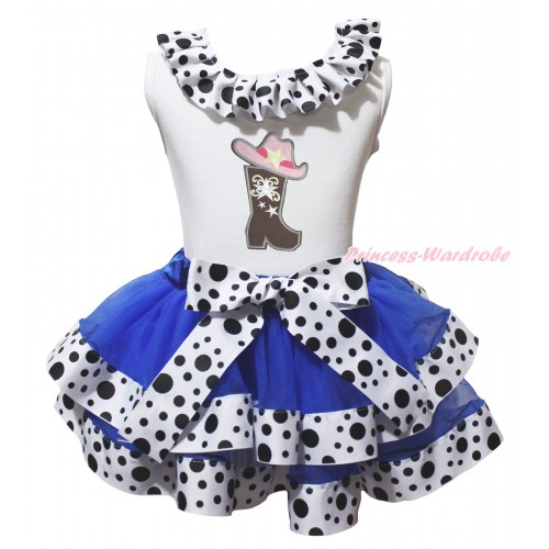 White Tank Top White Black Dots Lacing & Cowgirl Hat Boot Print & Royal Blue White Black Dots Trimmed Pettiskirt MG2067