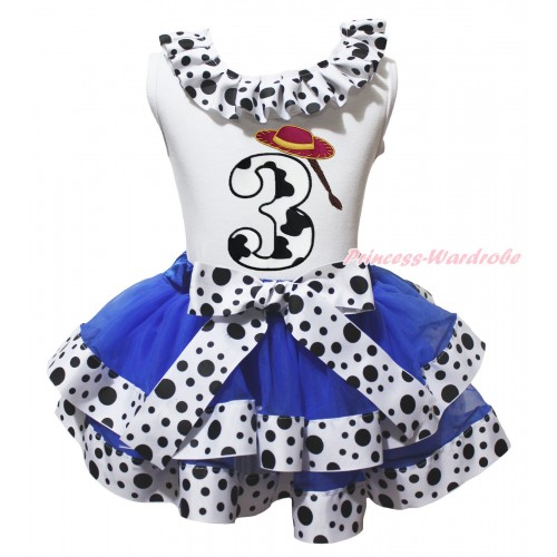 White Tank Top White Black Dots Lacing & 3rd Cowgirl Hat Braid Milk Cow Birthday Number Print & Royal Blue White Black Dots Trimmed Pettiskirt MG2069
