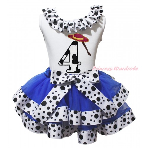 White Tank Top White Black Dots Lacing & 4th Cowgirl Hat Braid Milk Cow Birthday Number Print & Royal Blue White Black Dots Trimmed Pettiskirt MG2070