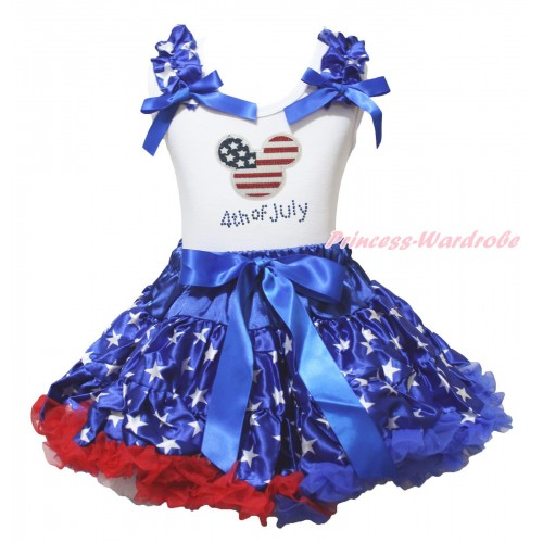 American's Birthday White Tank Top Patriotic American Star Ruffles Royal Blue Bows & American Striped Stars Minnie Rhinestone 4th Of July Print & Patriotic American Pettiskirt MG2199