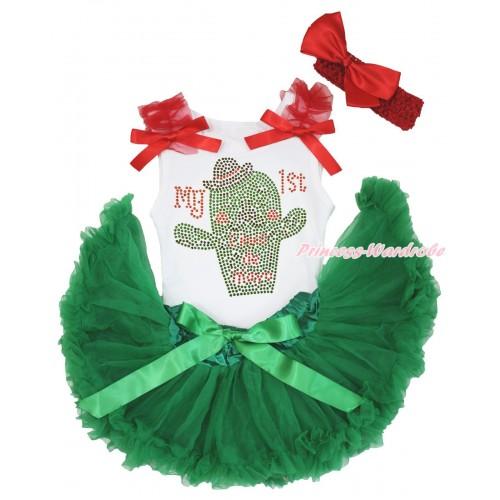 White Baby Pettitop Red Ruffles & Bows & Rhinestone My 1st Cinco De Mayo Cactus Print & Kelly Green Newborn Pettiskirt NG1963