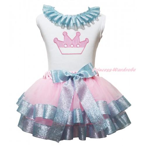 White Baby Pettitop Sparkle Blue Lacing & Light Pink Crown Print & Light Pink Sparkle Blue Trimmed Newborn Pettiskirt NG1978