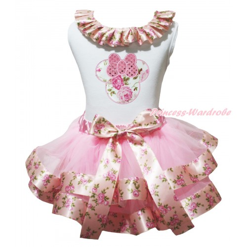 White Baby Pettitop Pink Rose Fusion Lacing & Sparkle Light Pink Rose Minnie Print & Light Pink Rose Fusion Trimmed Newborn Pettiskirt NG1981