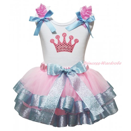 White Baby Pettitop Sparkle Light Pink Ruffles Light Blue Bows & Sparkle Pink Daddy's Princess Crown Print & Light Pink Sparkle Blue Trimmed Newborn Pettiskirt NG1991