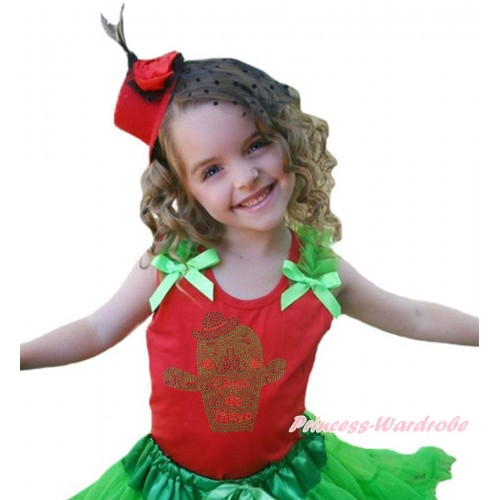 Red Tank Top Dark Green Ruffles & Bow & Sparkle Rhinestone Cinco De Mayo Cactus Print TB1439