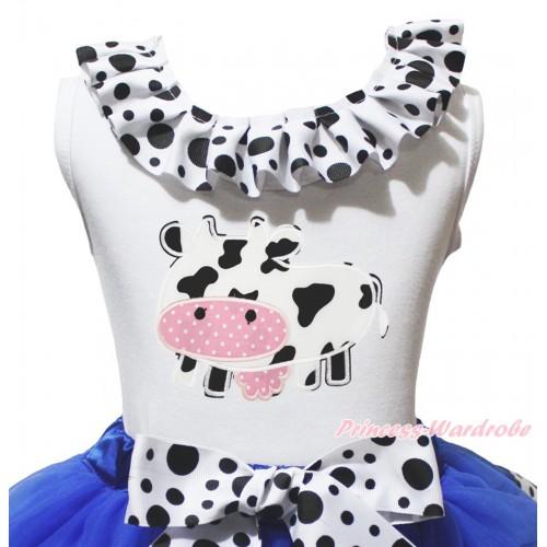 White Tank Top White Black Dots Lacing & Milk Cow Print TB1485
