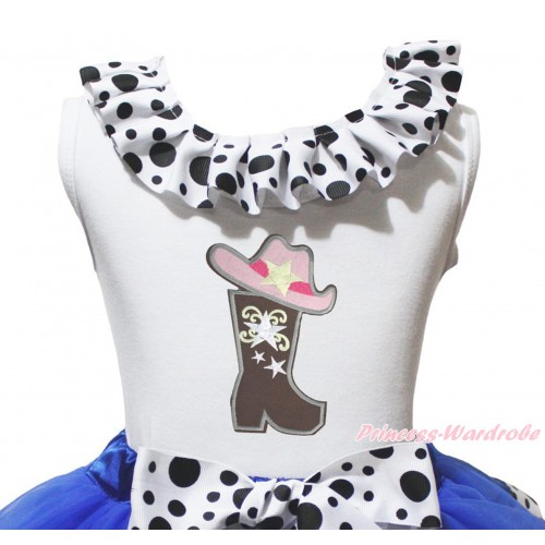 White Tank Top White Black Dots Lacing & Cowgirl Hat Boot Print TB1486