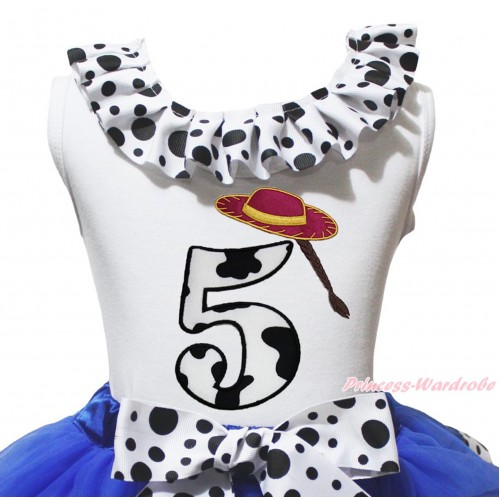 White Tank Top White Black Dots Lacing & 5th Cowgirl Hat Braid Milk Cow Birthday Number Print TB1490