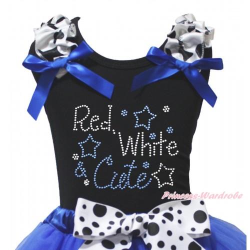 American's Birthday Black Tank Top Milk Cow Ruffles Royal Blue Bow & Sparkle Rhinestone Red White Cute Print TB1492
