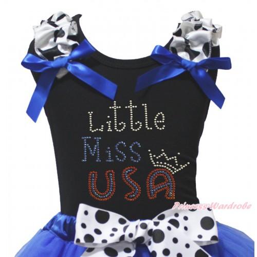 American's Birthday Black Tank Top Milk Cow Ruffles Royal Blue Bow & Sparkle Rhinestone Little Miss USA Print TB1493
