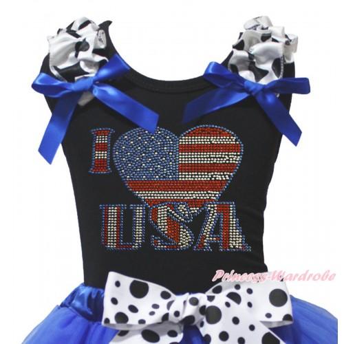 American's Birthday Black Tank Top Milk Cow Ruffles Royal Blue Bow & Sparkle Rhinestone I Love USA Print TB1494