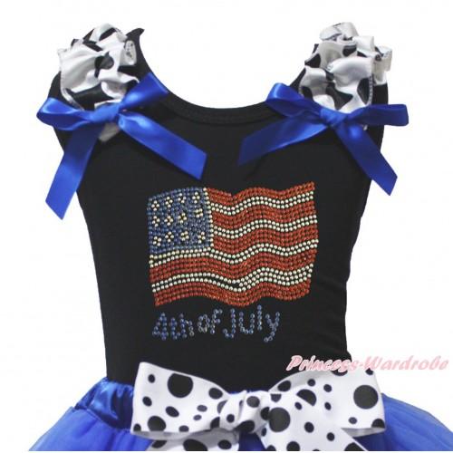 American's Birthday Black Tank Top Milk Cow Ruffles Royal Blue Bow & Sparkle Rhinestone American Flag 4h Of July Print TB1495