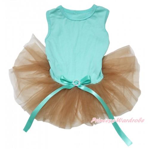 Aqua Blue Sleeveless Goldenrod Gauze Skirt & Aqua Blue Rhinestone Bow Pet Dress DC228