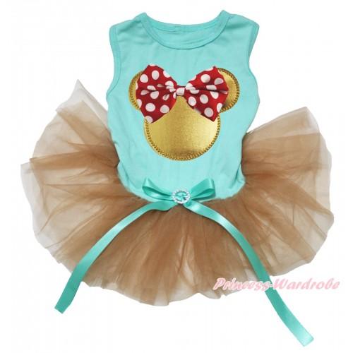 Aqua Blue Sleeveless Goldenrod Gauze Skirt & Red White Dots Bow Gold Minnie Print & Aqua Blue Rhinestone Bow Pet Dress DC230