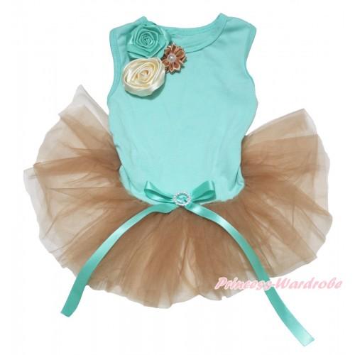 Aqua Blue Sleeveless Goldenrod Gauze Skirt & Cream White Goldenrod Blue Vintage Garden Flower Rosettes & Aqua Blue Rhinestone Bow Pet Dress DC232