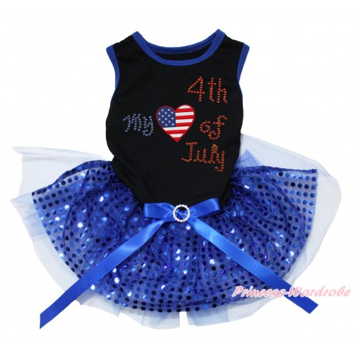 American's Birthday Black Blue Piping Sleeveless Royal Blue Bling Sequins Gauze Skirt & American Striped Stars Heart Rhinestone My American 4th Of July Print & Royal Blue Rhinestone Bow Pet Dress DC236