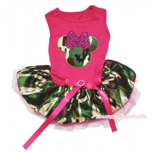 Hot Pink Sleeveless Hot Pink Camouflage Gauze Skirt & Sparkle Hot Pink Camouflage Minnie Print & Hot Pink Rhinestone Bow Pet Dress DC239