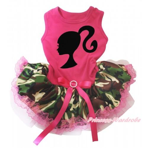Hot Pink Sleeveless Hot Pink Camouflage Lace Gauze Skirt & Barbie Princess Print & Hot Pink Rhinestone Bow Pet Dress DC247