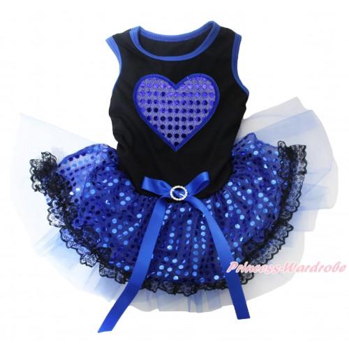 Black Blue Piping Sleeveless Royal Blue Bling Sequins Black Lace Gauze Skirt & Royal Blue Sparkle Heart Print & Royal Blue Rhinestone Bow Pet Dress DC253