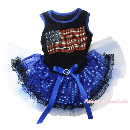 American's Birthday Black Blue Piping Sleeveless Royal Blue Bling Sequins Black Lace Gauze Skirt & Sparkle Rhinestone American Print & Royal Blue Rhinestone Bow Pet Dress DC254