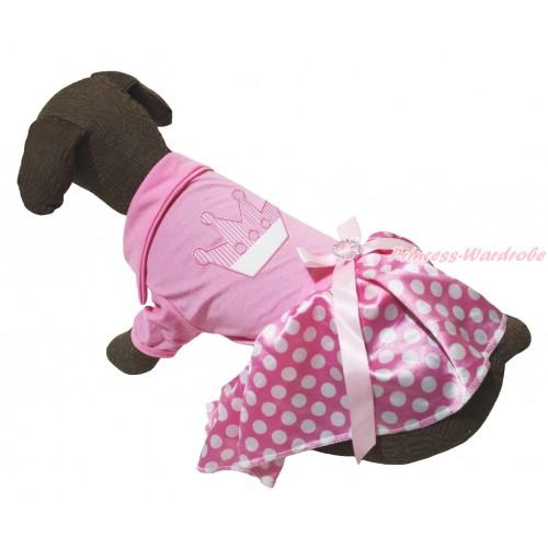 Pink Short Sleeves Tee Shirt Pink White Dots Skirt & Crown Print & Pink Rhinestone Bow Pet Dress DC258