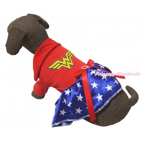 American's Birthday Red Short Sleeves Tee Shirt Patriotic American Star Skirt & Wonder Woman Print & Red Rhinestone Bow Pet Dress DC266