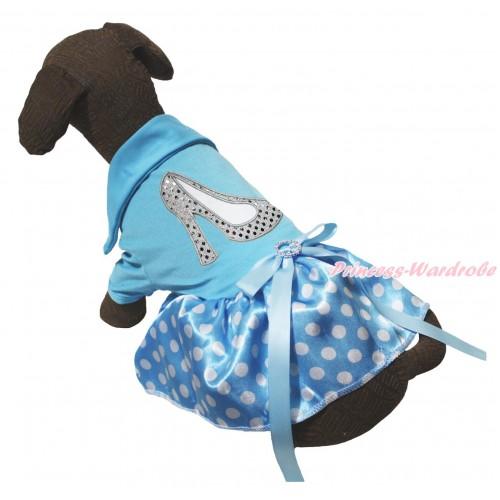 Light Blue Short Sleeves Tee Shirt Light Blue White Dots Skirt & Sparkle White High Heel Shoes Print & Light Blue Rhinestone Bow Pet Dress DC269