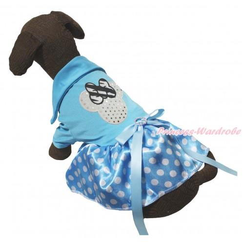 Light Blue Short Sleeves Tee Shirt Light Blue White Dots Skirt & Sparkle White Minnie Print & Light Blue Rhinestone Bow Pet Dress DC271