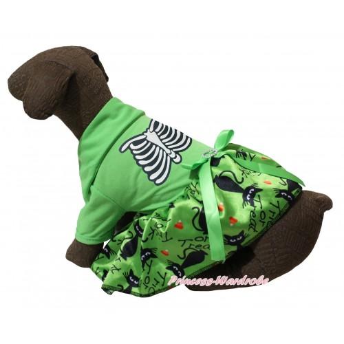 Halloween Light Green Short Sleeves Tee Shirt Green Black Cat Skirt & Skeleton Rib Print & Light Green Rhinestone Bow Pet Dress DC283