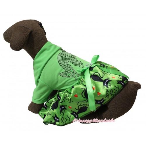 Halloween Light Green Short Sleeves Tee Shirt Green Black Cat Skirt & Sparkle Rhinestone Black Cat Print & Light Green Rhinestone Bow Pet Dress DC284