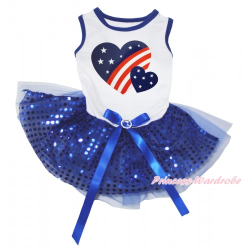 American's Birthday White Blue Piping Sleeveless Royal Blue Bling Sequins Gauze Skirt & Patriotic American Heart Painting & Royal Blue Rhinestone Bow Pet Dress DC286