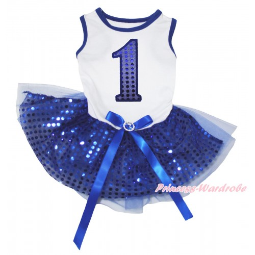 White Blue Piping Sleeveless Royal Blue Bling Sequins Gauze Skirt & 1st Sparkle Royal Blue Birthday Number Print & Royal Blue Rhinestone Bow Pet Dress DC291